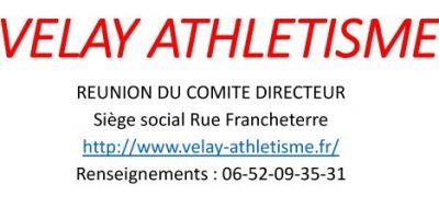 REUNION COMITE DIRECTEUR Vendredi 17 Janvier 2020 à 19h